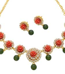Buy EXCLUSIVE FLOWER CORAL STONE STUDDED NECKLACE SET necklace-set online