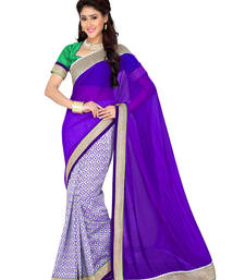 Buy Off White  -  Purple plain chiffon saree with blouse party-wear-saree online