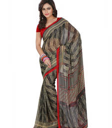 Buy Beige printed chiffon saree with blouse chiffon-saree online