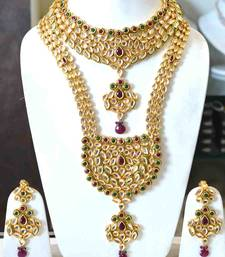 Buy Kundan Red Green Bridal Set necklace-set online, Buy necklace-sets online