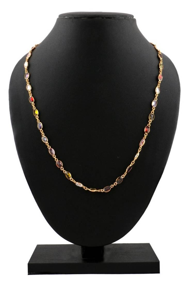 Buy Traditional 22k Gold Plated Navratna Stone Mala Chain