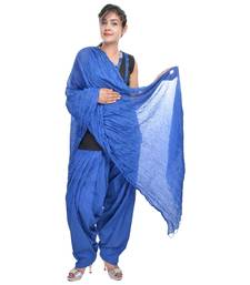Buy Blue Cotton Patiala Salwar with Dupatta readymade-suit online