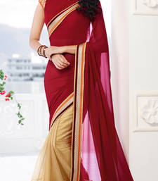 Buy Maroon embroidered georgette saree with blouse party-wear-saree online