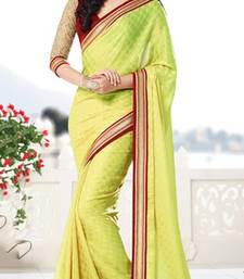 Buy Green embroidered chiffon saree with blouse wedding-saree online