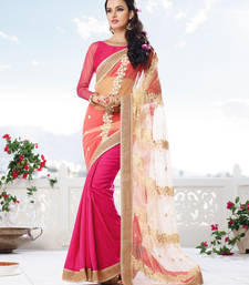 Buy Cream , Pink embroidered net saree with blouse wedding-saree online