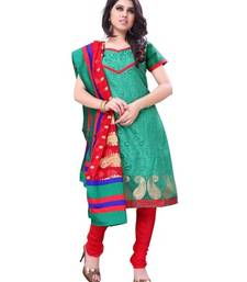 Buy Green embroidered Jacquard semi-stitched salwar with dupatta salwars-and-churidar online