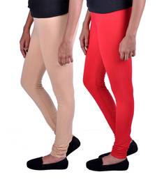 Buy Combo Pack of 2 Cotton , Lycra Leggings- Beige & Light Red legging online