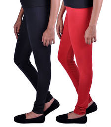 Buy Combo Pack of 2 Cotton , Lycra Leggings- Black & Red legging online