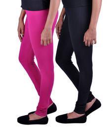 Buy Combo Pack of 2 Cotton , Lycra Leggings- Magenta & Black legging online