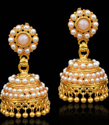 Buy Traditional ethnic jhumka earring with pearl and stone decoration-White jhumka online