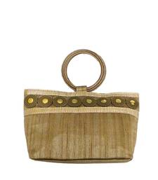 Buy Coin Embedded Boat Shaped (small shape) Bangle Bag (Light Gold) clutch online