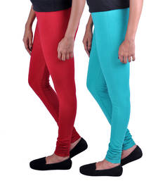 Buy Combo Pack of 2 Cotton , Lycra Leggings- Maroon & Sea Green legging online