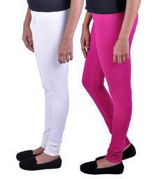 Buy Combo Pack of 2 Cotton , Lycra Leggings- Off White & Magenta legging online