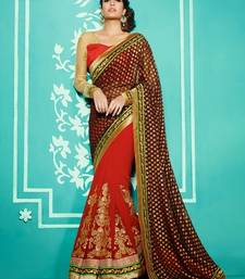 Buy Brown & Red embroidered georgette saree with blouse karwa-chauth-saree online