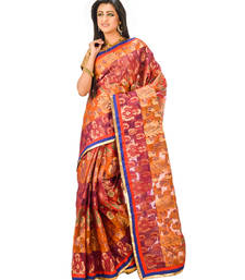 Buy mustard hand woven silk saree with blouse chanderi-saree online
