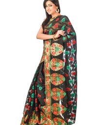 Buy Black hand woven silk saree with blouse chanderi-saree online