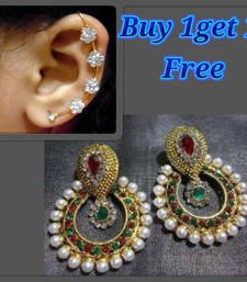 Buy Buy 1 get 1 free Multi pearl polki earrings. jewellery-combo online