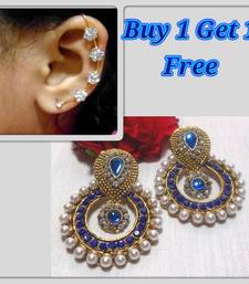Buy Buy 1 get 1 Blue Pearl polki  earrings with kaan jewellery-combo online