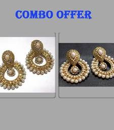 Buy Buy 2 Pearl Polki Earrings jewellery-combo online