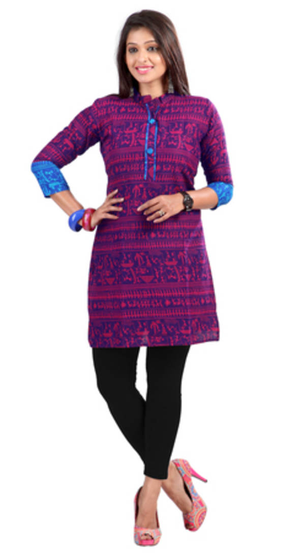 Buy Fancy weightless cotton kurti with multicolor colour Online