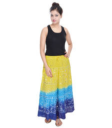 Buy Yellow blue Cotton Long Bandhej Skirt cotton-skirt online