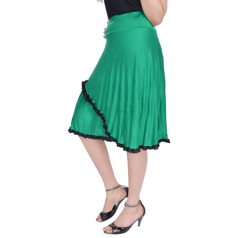 buy green knee length cotton lycra flair skirt