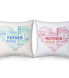 Buy Heart Shape Mother n Father Word Printed Cushions gifts-for-mom online