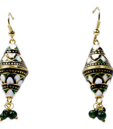 Buy Royal Green and White Ear Ring For Your Mother gifts-for-mom online