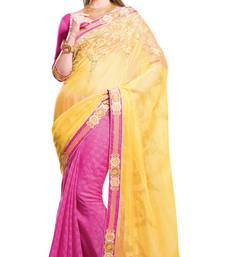 Buy Magenta and Yellow plain cotton saree with blouse cotton-saree online