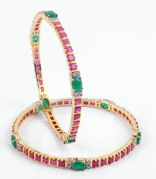 Buy Beautiful Ruby Bangles with Emerald Stones bangles-and-bracelet online