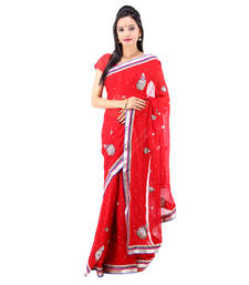 Buy red woven georgette saree with blouse wedding-saree online