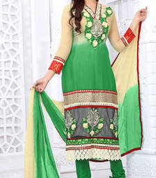 Buy Cream and Green embroidered net semi stitched salwar with dupatta party-wear-salwar-kameez online