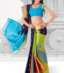 Buy Green and Navy Blue embroidered silk saree with blouse silk-saree online