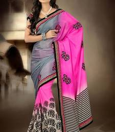 Buy pink and grey embroidered satin saree with blouse satin-saree online