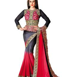 Buy Multicolor embroidered chiffon saree with blouse wedding-saree online