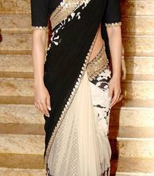 Buy Black embroidered Net saree with blouse priyanka-chopra-saree online