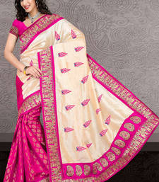Buy PINK brasso velvet saree with blouse bhagalpuri-silk-saree online