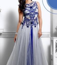Buy Raksha Bandhan Special Grey and Blue embroidered Net party wear semi stitched gown readymade-suit online