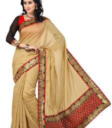 Buy Beige plain saree with blouse party-wear-saree online