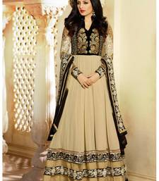 Buy Beige embroidered Georgette semi stitched salwar with dupatta anarkali-salwar-kameez online