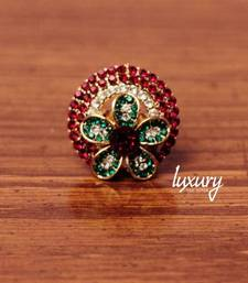 Buy Flower Shape Red-Green Crystals RING, Adjustable Handmade, Precious Stone Jewelry Ring online