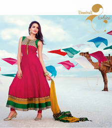 Buy Pink embroidered Silk stitched salwar with dupatta readymade-suit online