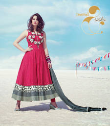 Buy Pink embroidered Silk Cotton stitched salwar with dupatta readymade-suit online