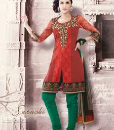 Buy Red embroidered Silk stitched salwar with dupatta readymade-suit online