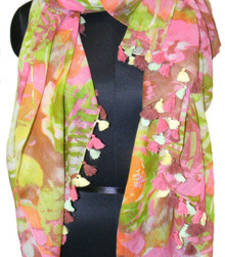 Buy BIG WATERLY FLOWER MULTICOLOUR GLITTERING SCARF scarf online
