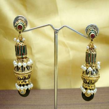 Meena Moti and Jadau Earring