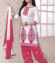 Buy Charming Pink And White Cotton Patiala Dress Material M1001-B eid-special-salwar-kameez online