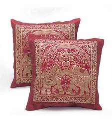 Dual Elephant Design 2 Pc Maroon Cushion Cover Set shop online