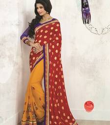 Buy Red and Yellow embroidered viscose saree with blouse viscose-saree online