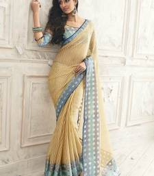 Buy Beige printed Tissue and Brasso saree with blouse tissue-saree online